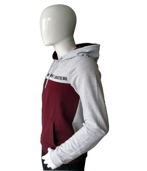 3 PIN MEN MELANGE AND BURGUNDY HOODIES SWEATSHIRT ST013C