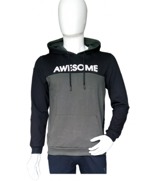 3 PIN MEN BLACK & GREEN HOODIES SWEATSHIRT ST013A