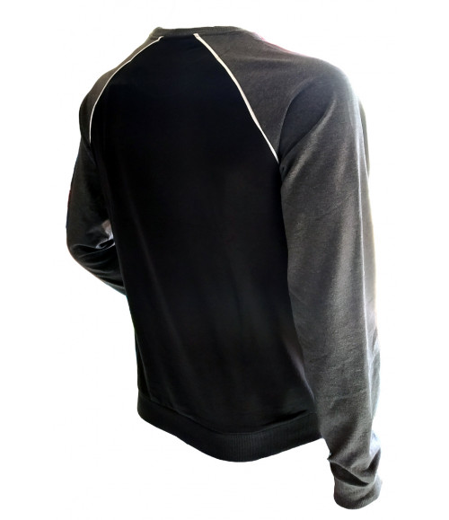 3 PIN MEN BLACK AND GREY MELANGE SWEATSHIRT ST002C